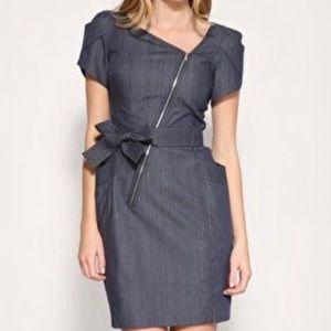 Karen Millen Asymmetrical Puff Sleeve Denim Dress